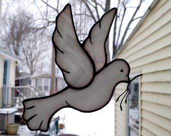 Handmade Dove of Peace Stained Glass Suncatcher