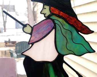 Kitchen Witch Stained Glass Suncatcher- Halloween Witch with green face