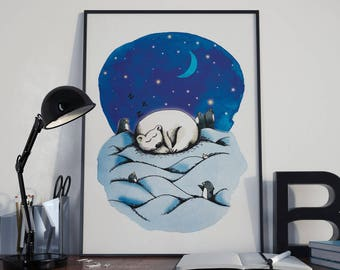 Poster A4 - Polar bear - Illustration - decoration