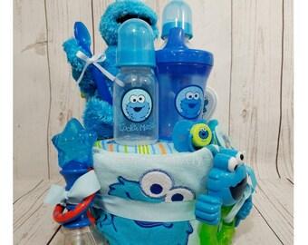 Cookie Monster Diaper Cake  Cookie Monster Baby Gift  Sesame Street Diaper Cake  Seasame Street Baby Gift  Baby Shower Gift  Diaper Cakes