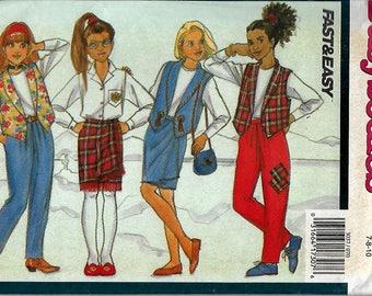 Butterick 3037      Girls Vest, Skirt and Pants     Size 7,8,10         Uncut
