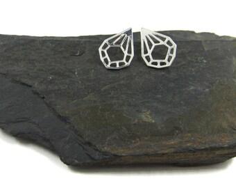 Small Silver Earrings, 925 Silver Earrings, Geometric Studs, 925 Silver Studs, Design Earrings, Womans Geometric, 925 Sterling Posts