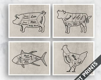 Cow diagram etsy pork beef fish and chicken butcher diagram outline series c2 set ccuart Choice Image