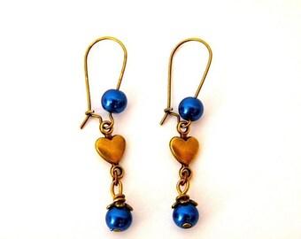 PROMOTION - 20% - Stud Earrings, brass, Pearl night blue, OOAK