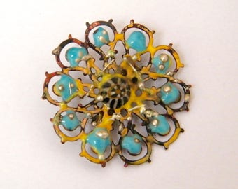 ROSE - Brooch enameled copper, blue and yellow filigree
