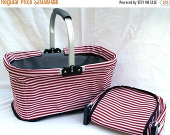 ON SALE Market Basket Red Stripe   Monogrammed Canvas Tote Organizer   Personalized Bridesmaids Gift   Collapsible Folding Shopping Bag