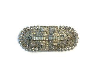 Vintage Rhinestone Dress Clips/Pin, Coro Duette Brooch, 1930s 1940s Brooch, Art Deco Style Brooch, Costume Jewelry
