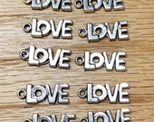 Love Charms, Package of 10 Charms, Jewelry charms, Jewelry supplies, Crafting supplies
