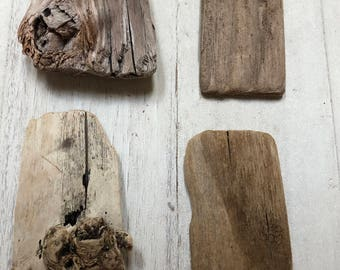 4 Driftwood Pieces. Unique Shapes & Knots in 2 of the Larger Pieces. 2 are Flat Pieces.  Driftwood Arts and Crafts Supplies