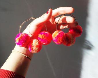 Bright Pink Pom Pom Hoop Earrings 60s 70s style