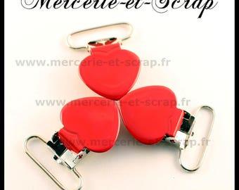 SET of 30 red Suspender clips 25mm heart shape