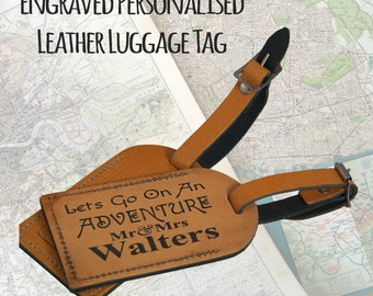 A Pair of Personalised,  Laser Engraved, Genuine  Tan Leather Luggage Tags - Let's Go on an Adventure -  Holiday  -  L1011