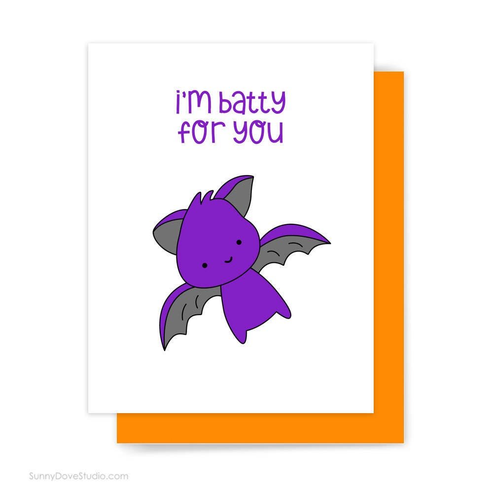 Halloween Card For Girlfriend Boyfriend Bat Batty For You Love