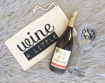Wine A Little | Wine Carrier | Wine Tote | Wine Gift | Wine Bag | Wine Bag Holder | Hostess Gift | Birthday Gift