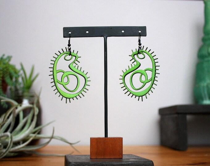 """""""Amoeba"""" Earrings in Green"""
