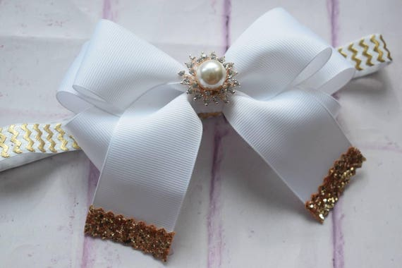 White and Gold long tail bow with glittery tips - Baby / Toddler / Girls / Kids Headband / Hairband / Hair bow / Barrette / Hairclip