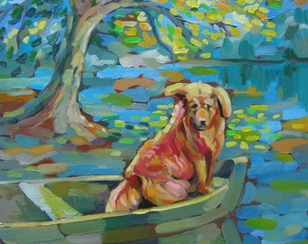 Picture Art Original Oil Painting River boat dog summer