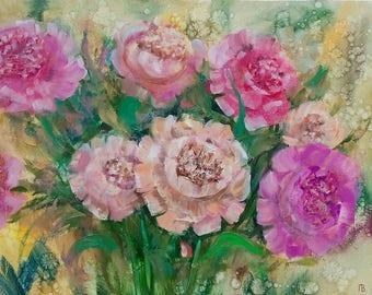 Original Oil Painting Bouquet of Peonies
