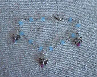 Butterfly Bracelet,Silver Charm Bracelet,Blue Bracelet,Blue Beaded Bracelet,Butterfly Jewelry