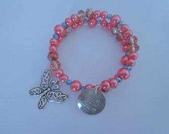 Gorgeous Peach Memory Wire Bangle Bracelet,Live Your Dream Memory Wire Bracelet,Butterfly Bracelet,Inspiration Jewelry