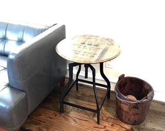 Bourbon Whiskey Barrel Top Table   Reclaimed Wood Industrial Design