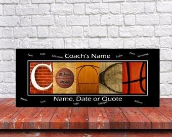 Basketball Coach Sign - Coach Canvas Wrap Sign - Coach Gift - Alphabet Art Sign - Basketball Coach Gift - Best Coach Sign - Coach Sign Gift