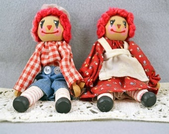 Vintage Raggedy Ann & Andy Clothespin dolls
