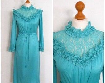 Summer Clearance 1970s 70s Gorgeous Aqua Evening Dress - Boho Prairie Ruffles and Lace ILGWU - L