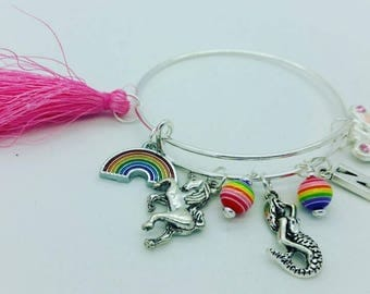 Girls Butterfly mermaid rainbow bangle bracelet, girls initial bangle, girls initial bracelet, pink tassel bracelet, pink butterfly bangle