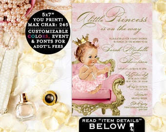 Princess BABY SHOWER invitation, gold and pink, a little princess is on the way, baby shower printable invitations, customizable. 5x7.