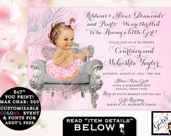 Pink and Silver Baby shower girl invitation, baby shower, ribbons bows diamonds and pearls, vintage, baby girl tutu invite, ruffles bows.
