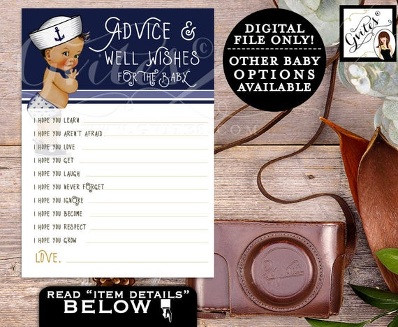 """Advice Cards & Well Wishes for BABY, Little sailor, African American baby boy shower, nautical blue, ethnic baby. PRINTABLE 5x7"""" 2 Per/Sheet"""