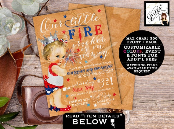 Baby Shower 4th of July invitations, BABY GIRL patriotic coed shower, our little firecracker is on the way, customizable invites, vintage.