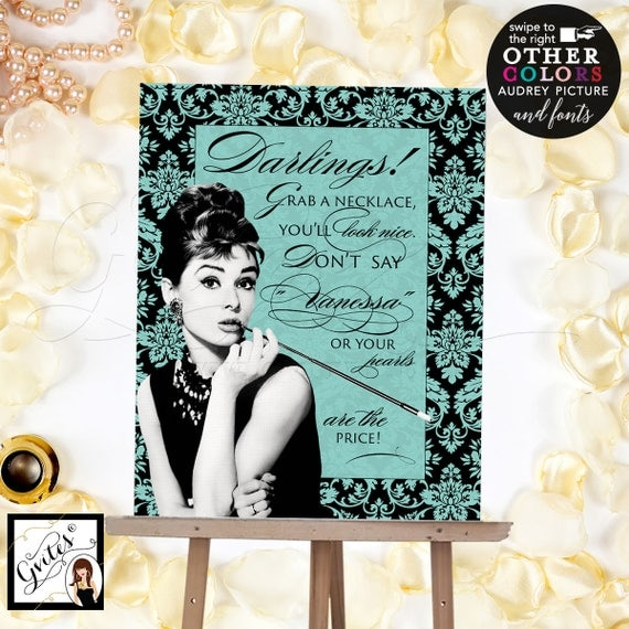 Grab a necklace game sign, Audrey Hepburn theme, turquoise blue game sign, breakfast at bridal shower games, PERSONALIZED NAME 8x10""