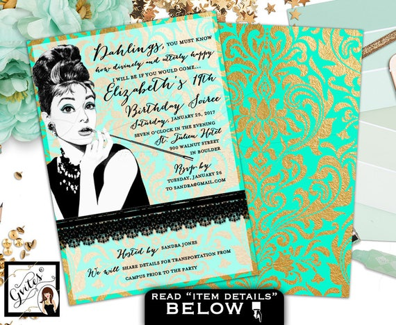 Mint green and gold invitation, 19th birthday Audrey Hepburn party themed, breakfast at birthday invites, customizable 5x7 double sided.