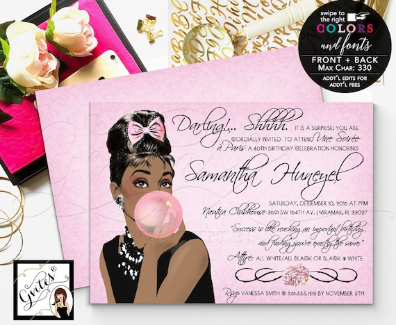 40th Birthday Invitation Audrey Hepburn party, African American, paris theme, pink elegant printable invitation, customizable, double sided.