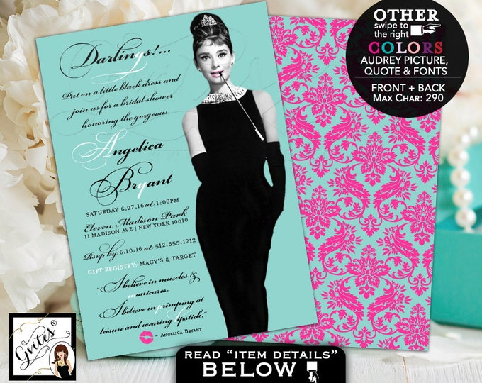 Bridal Shower Audrey Hepburn Invitation, breakfast at blue themed and co wedding shower, pink turquoise blue, printable, 5x7, double sided.