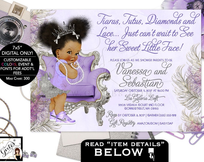 Purple Lavender and Silver baby shower invitation, princess african american baby girl, afro puffs, tutus tiaras pearls, DIGITAL 5x7 Gvites