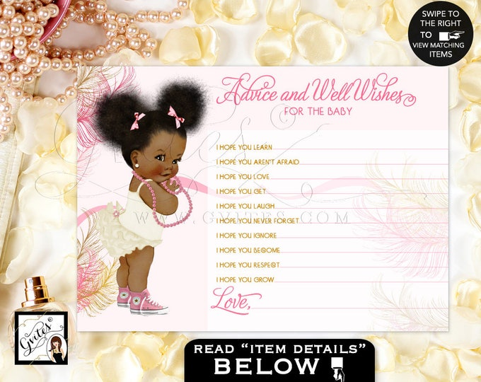 """Baby ADVICE wishes cards, pink gold, african american baby shower girl, diamonds pearls, baby wishes 5x7""""2/Per Sheet. #RBNAPU004"""