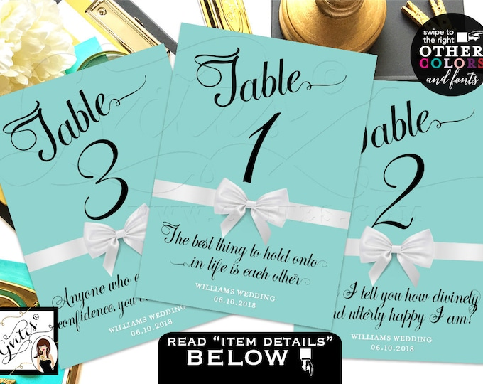 Blue Wedding Table Numbers, Breakfast at themed shower, birthday, Audrey Hepburn quotes, table decor, Printable, DIY, 4x6 or 5x7.