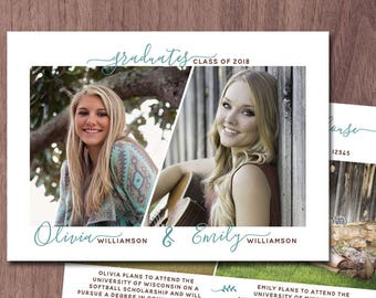 Twins Graduation Announcement Twin Graduation Invitation High School Photo Graduation Announcement College Grad Invite Printable siblings