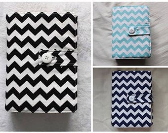 LDS Quad Scripture Cover in Blue, Hot Pink, Lime Green, Gray, Black, Aqua Chevron - other colors available upon request