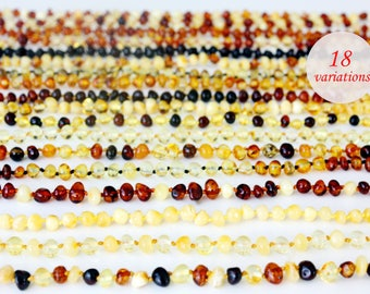 Baltic Amber Baby Teething Necklace - New Baby Gift or Baby Shower Gift. Choose color from 18 variations!