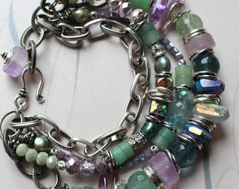 bracelet, fluorite bracelet, amethyst bracelet, african amethyst bracelet, green bracelet, purple bracelet, bohemian bracelet, boho chic