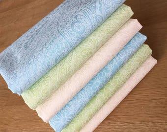 PASTEL PASTE PRINTS Fat Quarter Bundle Cotton Fabric Freedom Blue Ivory Lime