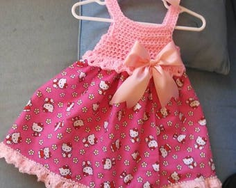 Hello kitty crocheted top dress, with head band