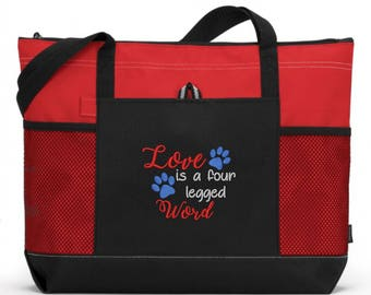 Dog Tote Bag/ Embroidered Love Is A Four Legged Word Dog Tote Bag/ Rescue Mom Gift/ Embroidered Rescue Dog/ Rescue Dog Tote