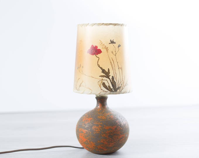 Rustic Accent Lamp / Vintage Mid Century Ceramic Pressed Flower Shade Bedside Ceramic Lamp / Huronia Pottery Desk Lamp / Made in Canada