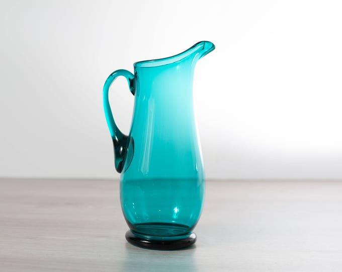 Turquoise Blue Cocktail Pitcher / Vintage Aqua Teal Glass Jug / 1960's Barware / Vintage Mid Century Modern Danish Design Carafe
