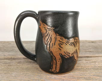 Wolf Mug 16 oz - Howling Wolf - Camping Mug - Woodland Creatures - Enchanted Forest - Nature Lover -  Fox Coffee Mug - Mesiree Ceramics